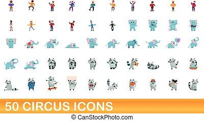 icônes, ensemble, style, dessin animé, 50, cirque