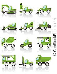 icônes, ensemble, véhicules, bâtiment