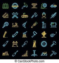 icônes, ensemble, vecteur, charpentier, néon