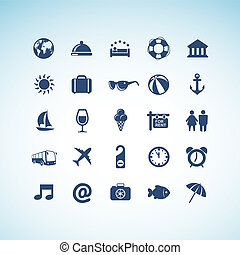 icônes, ensemble, voyage