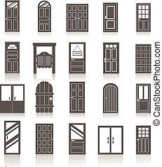 icônes, entrée, isolé, portes, ensemble, devant