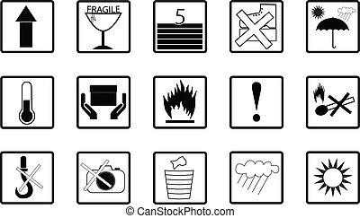 icônes, expédition, logistique, simple