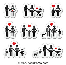 icônes, famille, pregna, gens, -, bébé