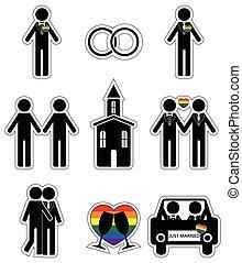icônes, femme, gay, 2, mariage, ensemble
