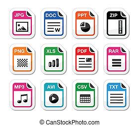 icônes, fichier, fermeture éclair, -, ensemble, étiquettes, type