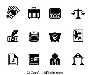 icônes, finance, business