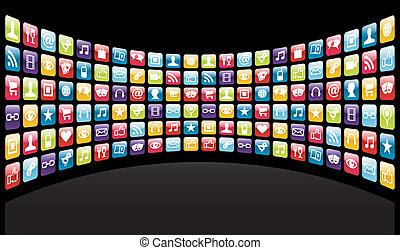 icônes, fond, app, iphone