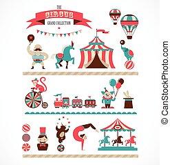 icônes, fond, foire, amusement, cirque, collection, vecteur, énorme, vendange, carnaval