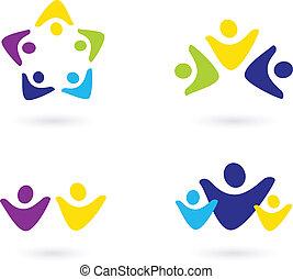 icônes, gens, communauté, business, isolé, blanc