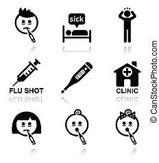icônes, gens, froid, malade, grippe, vecteur