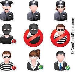 icônes, gens, sécurité, -