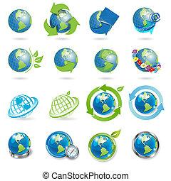 icônes, globe