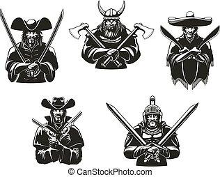icônes, guerriers, vecteur, soldats, munitions, ou, homme