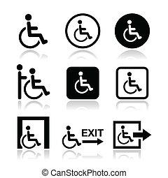 icônes, homme, handicapé, fauteuil roulant