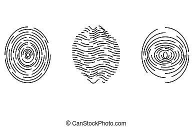 icônes, identification, empreinte doigt, ensemble, isolé
