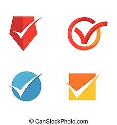 icônes, illustration, marque, vecteur, conception, gabarit, chèque