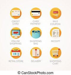 icônes, illustrations., coloré, achats, set., moderne, plat