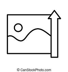 icônes, image, haut, style, mer, vagues, ligne, flèche, soleil, marine
