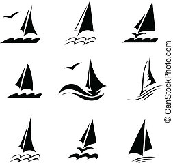 icônes, image, yachts