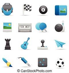 icônes,  , indigo, série, divertissement