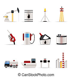 icônes, industrie, essence, huile