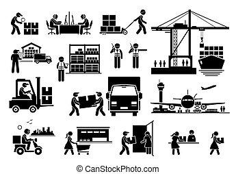 icônes, industrie, expédition, logistique, importation, set., exportation