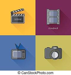 icônes, industrie, ombres, filmstrip)., (camera, bardeau, ensemble, média, conception, plat, long, tv, concept