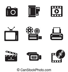 icônes, informatique, photo-video