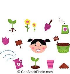 icônes, &, jardin, printemps, nature