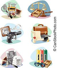 icônes, justice, collection, symboles, attributes, droit & loi