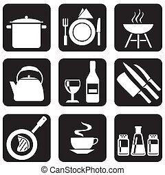 icônes, kitchenware