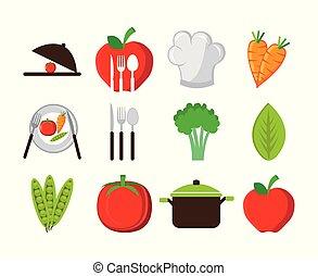icônes, légumes, ensemble, coutellerie