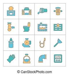 icônes, ligne, ensemble, sewerage