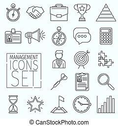 icônes, ligne, gestion