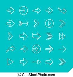 icônes, linéaire, flèches, ensemble, mince
