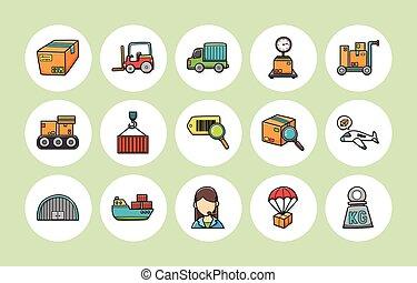 icônes, logistique, ensemble, expédition, eps10