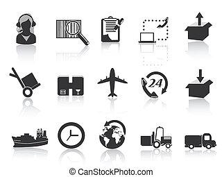 icônes, logistique, expédition