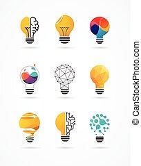 icônes, lumière, -, créatif, idée, ampoule, technologie