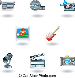 icônes, média, brillant