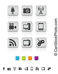 icônes, média