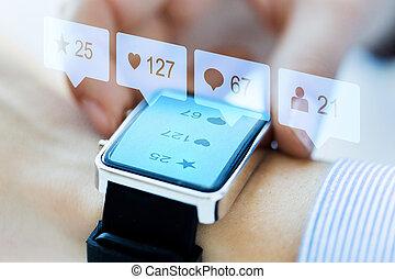 icônes, média, montre, haut, social, fin, intelligent