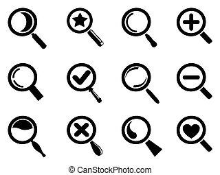 icônes, magnifier, noir, ensemble, verre