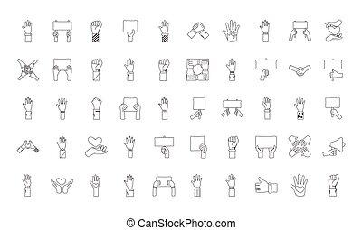 icônes, mains, ensemble, cinquante, protestation, paquet