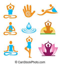 icônes, masage, yoga, spa