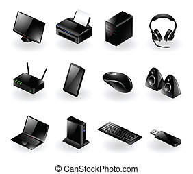 icônes, matériel informatique, mélangé