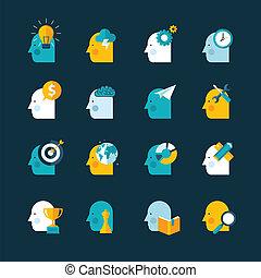icônes, mettez stylique, plat, concept
