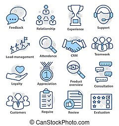 icônes, meute, 03., business, ligne, style., gestion