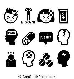 icônes, migraine, -, mal tête, monde médical