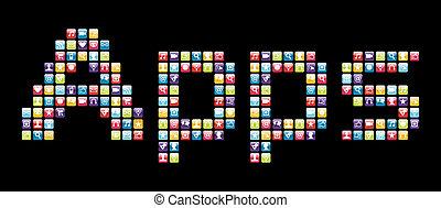 icônes, mobile, apps, téléphone, ensemble, mot