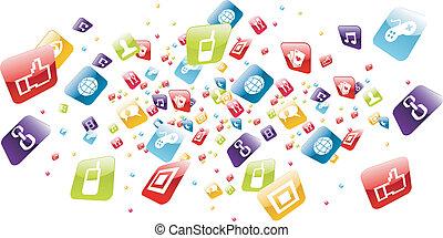 icônes, mobile, global, apps, téléphone, éclaboussure